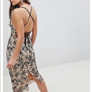 ASOS embroidered dress open back NWT